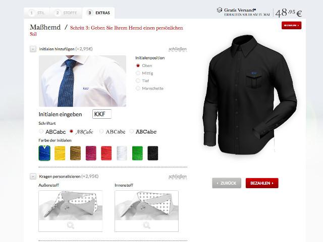 Farben und Initialen beim Hemd