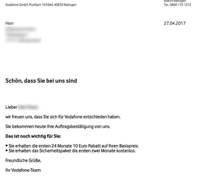 Vodafone Auftragsbestätigung für DSL Anschluss